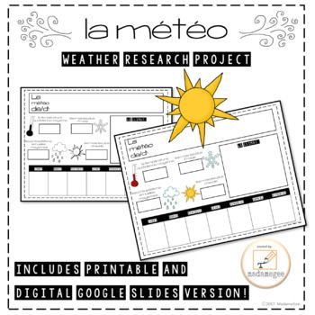 La Météo French Weather Research Project In this project, students will research the weather in one of the French-speaking cities of the world. Students will use the template provided to record the following information: coldest months, warmest months, average daily temperature, average annual precipitation, and a weekly forecast.