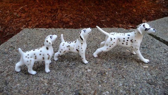 Vintage Miniature Dalmatian Dogs Bone China Japan by glamourama