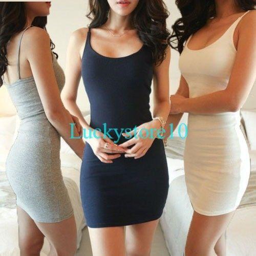 Sexy Women Camisole Long Tank TOP Spaghetti Strap Basic Slip Mini DRESS S - 3XL #Unbranded #WrapDress #Casual