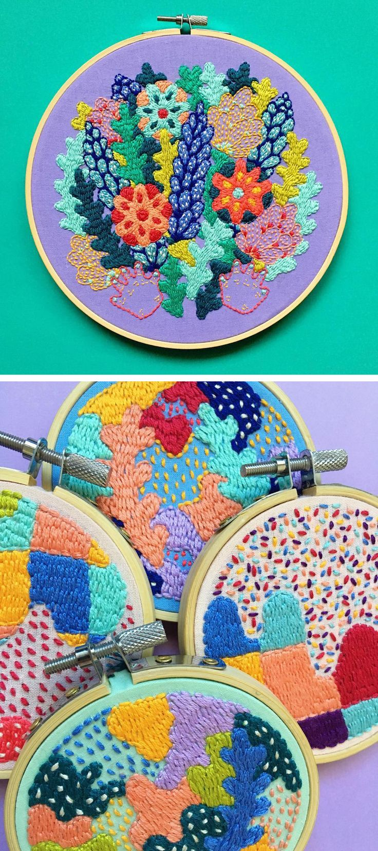 Colorful contemporary embroidery by Kelly Ryan | modern embroidery | colorful hoop art