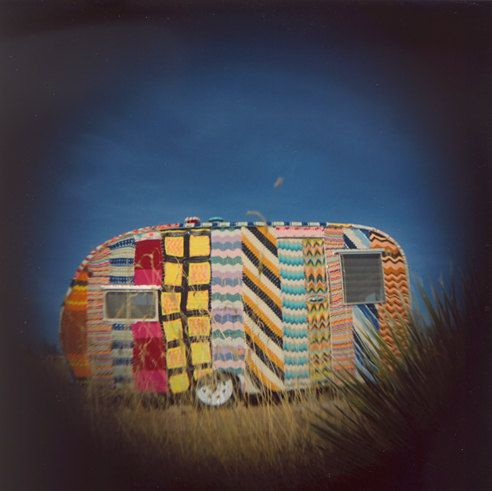 Fabulous Holga photo of a yarn-bombed vintage trailer at El Cosmico, Marfa TX.  Photo by Rachelgoldstar on Etsy!