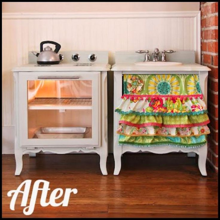 Turn Side Tables Into A Play Kitchen