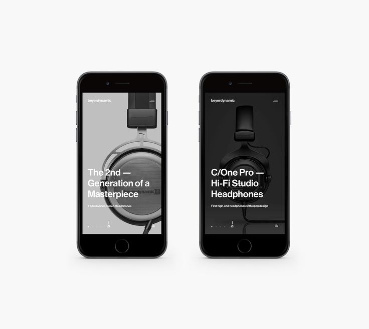 """Art direction, conceptual research and completely refreshed, new mobile web experience for Beyerdynamic company.Electrical engineer Eugen Beyer started his own company in Berlin in 1924 to build cinema speakers. His """"Elektrotechnische Fabrik Eugen Beyer…"""
