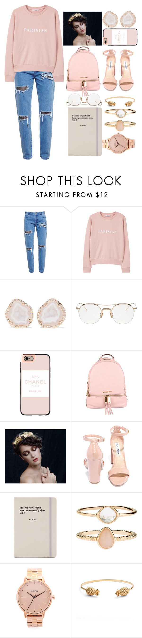 """no sleeping in on Sunday"" by polysetter-862 ❤ liked on Polyvore featuring House of Holland, MANGO, Kimberly McDonald, Thom Browne, Casetify, MICHAEL Michael Kors, Steve Madden, Jac Vanek, Accessorize and Nixon"