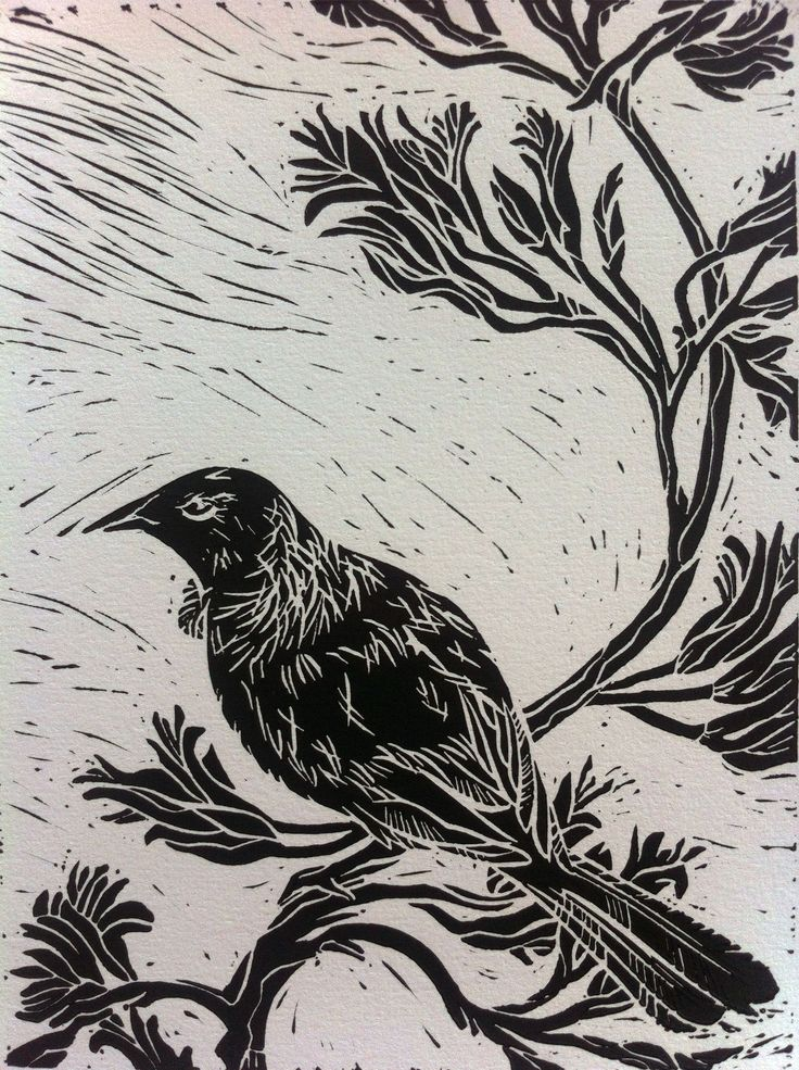 Close up on my Tui print - Really happy with how the cut marks all showed through... Just like a windy day in Wellington!