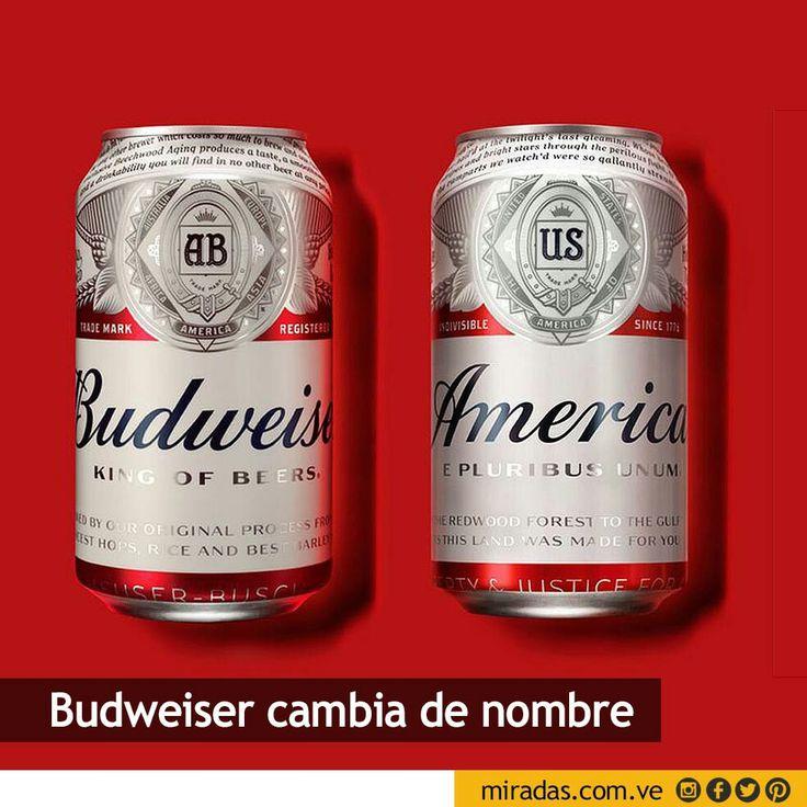 Una de las cervezas más populares en Estados Unidos, Budweiser, cambió su nombre por América desde este 23 de mayo.  La compañía propietaria, los belgas de InBev, lanza así su campaña publicitaria más patriótica de cara a la Copa América Centenario que se celebrará en el país del norte y a las elecciones presidenciales en noviembre.  Leer más en http://miradas.com.ve/web/index.php/96-empresas/143-cerveza-budweiser-cambia-de-nombre-para-la-copa-america-centenario