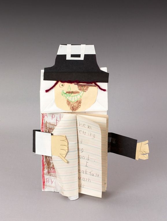 Paper-bag puppets hold original poetry about pirates, pets, or any preferred topic. Young writers put the puppet's arms around their poetry!