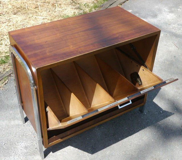 Nice Vintage Lane Acclaim Mid Century Teak Chrome Record Storage Side Table  Cabinet