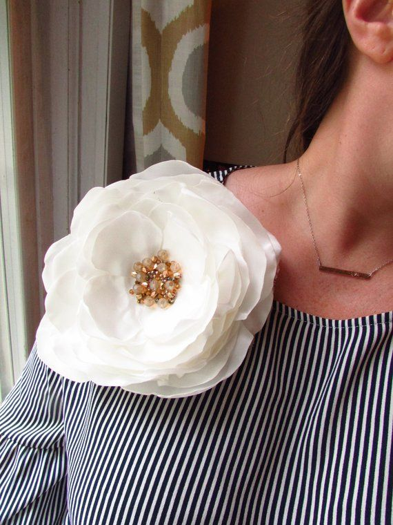 596e61657f115 Big Oversized Pin Extra Large Silk Fabric Flower Brooch White Rose ...