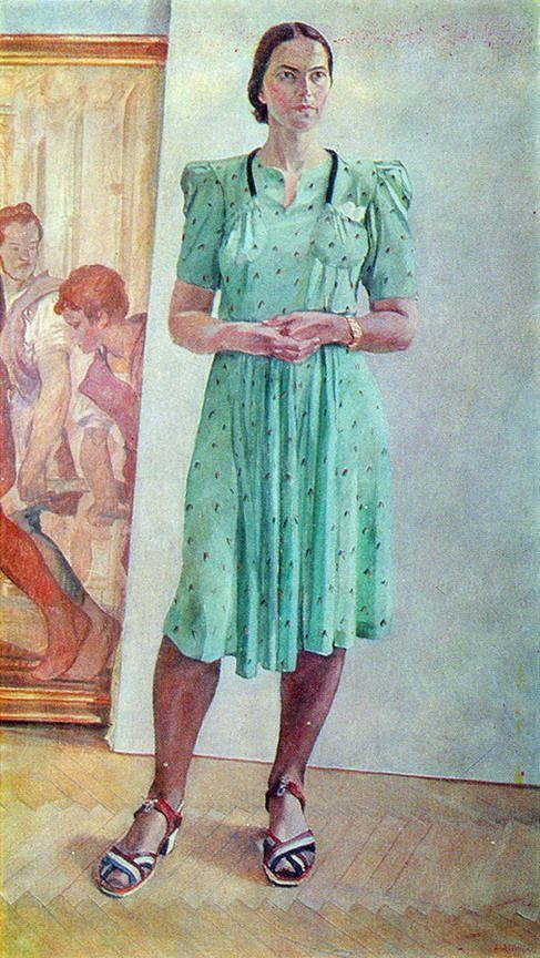 Aleksandr Deyneka - Woman portrait. 1944 by Aleksandr Deineka. (Russian 1899-1969)