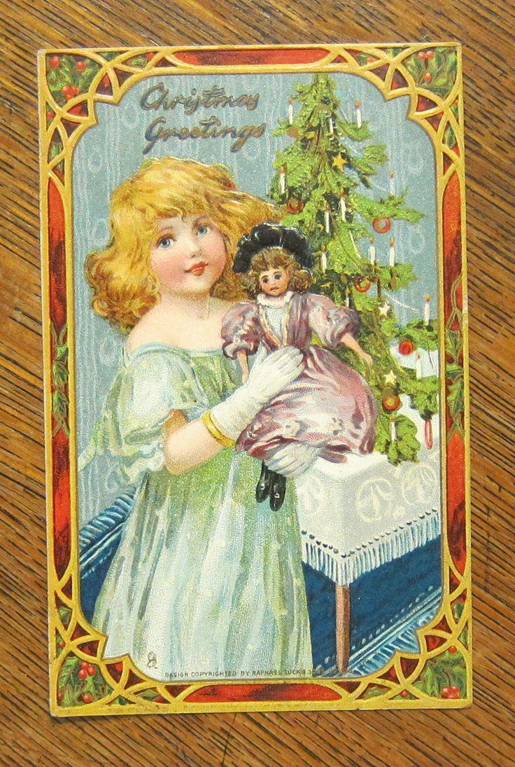 Pretty Girl Green Dress White Gloves Fancy Doll Vintage Christmas Tuck Postcard | eBay