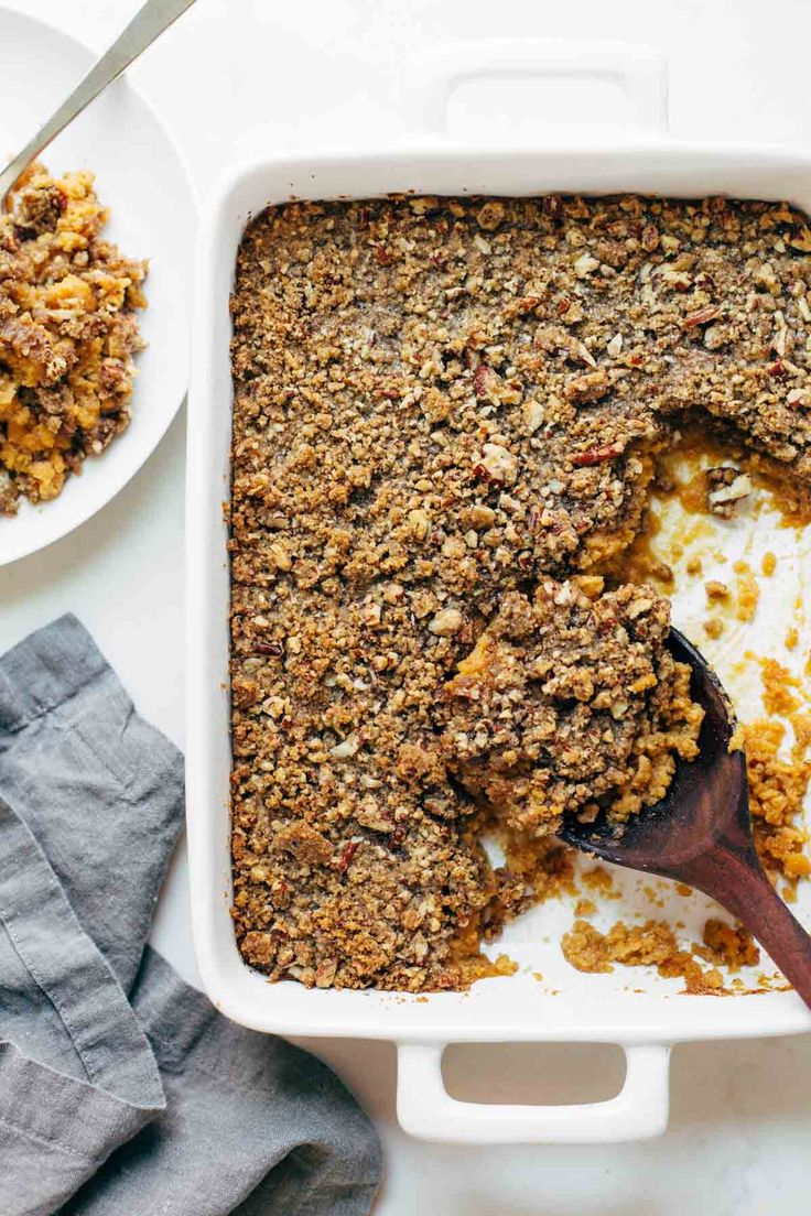Sweet Potato Casserole with a crunchy brown sugar topping that will give you life. A Thanksgiving recipe classic! Sponsored by @wholesomesweet #LiveSweetly | pinchofyum.com