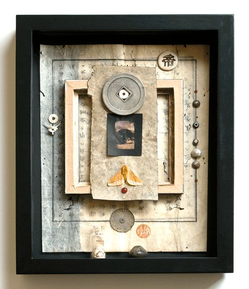 Haiku Kit #1 - Shadow box assemblage by Janet Jones - Janet Jones has a number of works in the collection of the International Museum of Collage, Assemblage and Construction - collagemuseum.com