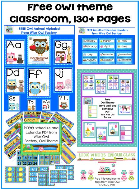 free owl classroom theme printables including an alphabet, word wall alphabet, birthdays display, schedule signs and times (analog and digital), and room decor, over 130 pages