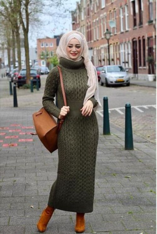 long knit dress hijab-Neutral winter hijab outwears – Just Trendy Girls