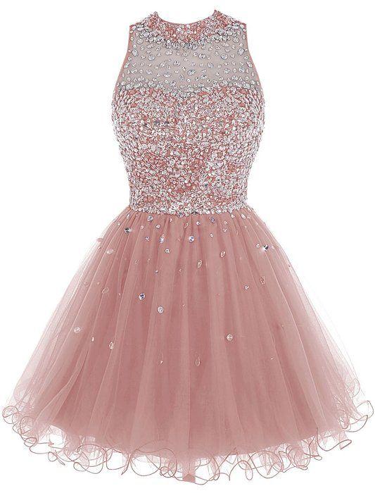 Bbonlinedress Short Tulle Beading Homecoming Dress Prom Gown Blush 4