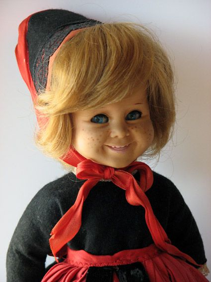 Tjorven, a Norwegian doll utilizing the same body and scale as the popular Danish doll Pusle and the same head mold as the Pippi Longstocking doll, anatomically correct child doll, Norway, late 1960s, initially produced by Italian firm Ratti, later taken over by Mattel's Italian S.P.A. subsidiary.
