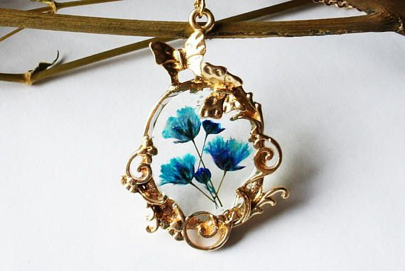 Baby's breath necklace Resin necklace Dried flower