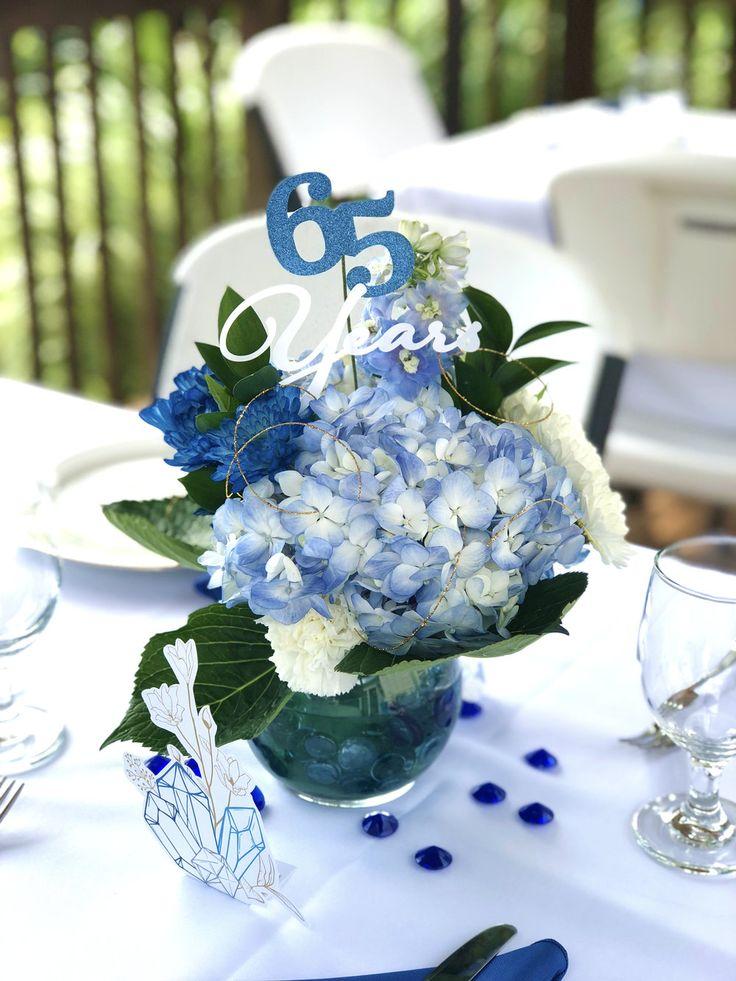 65 Years Floral Arrangements. So cute! Wedding