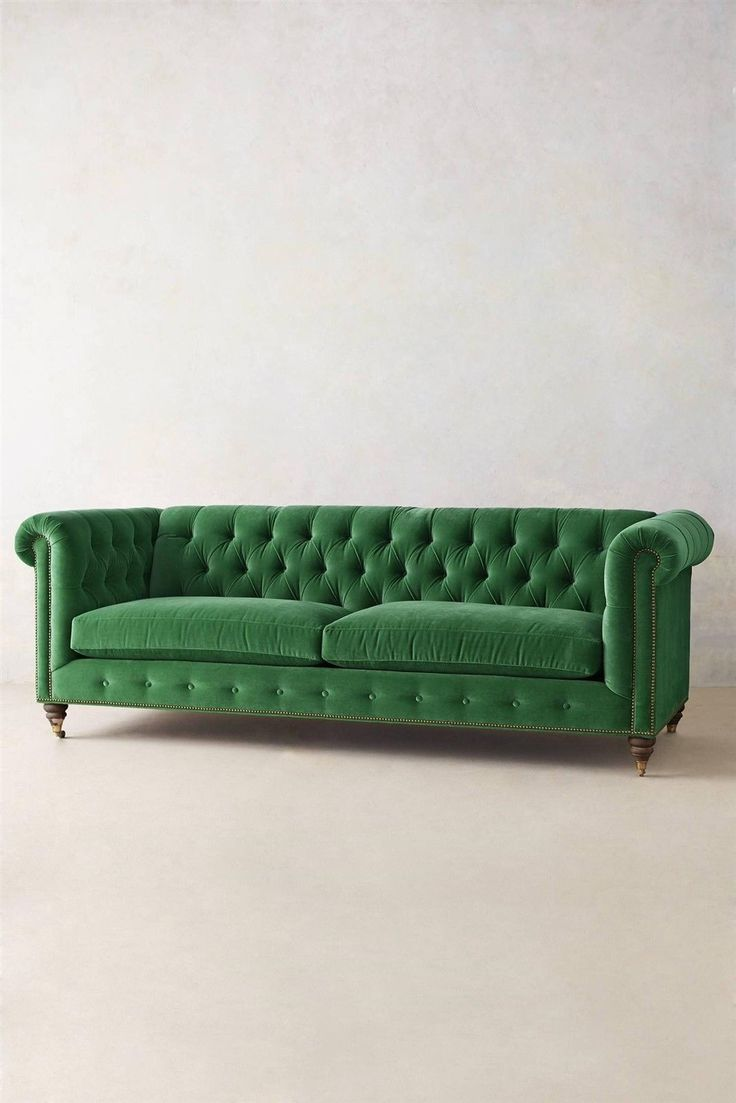 Velvet tufted chesterfield sofa couch settee feather down for Button tufted velvet chaise settee green