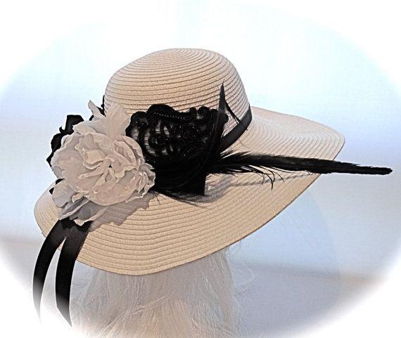 Black & White Kentucky Derby Hat Women's Hats by Marcellefinery