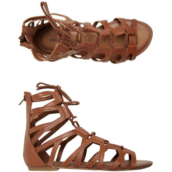 O'neill Sonia Gladiator Sandal found on Polyvore featuring shoes, sandals, sapatos, flats, zapatos, brown, peep toe sandals, lace up flats, roman sandals and lace up gladiator sandals