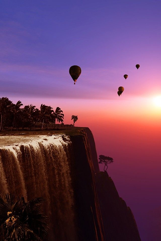 *hot air balloons over the waterfall