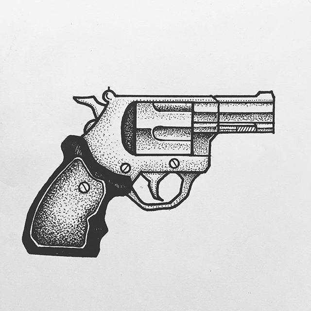 Znalezione obrazy dla zapytania oldschool pistol tattoo