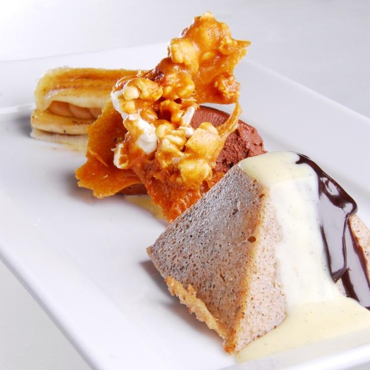 Banana Cake with Banana Napoleon & Popcorn Brittle from Simple Treasures Cookbook. Rocky Mountain Cuisine.