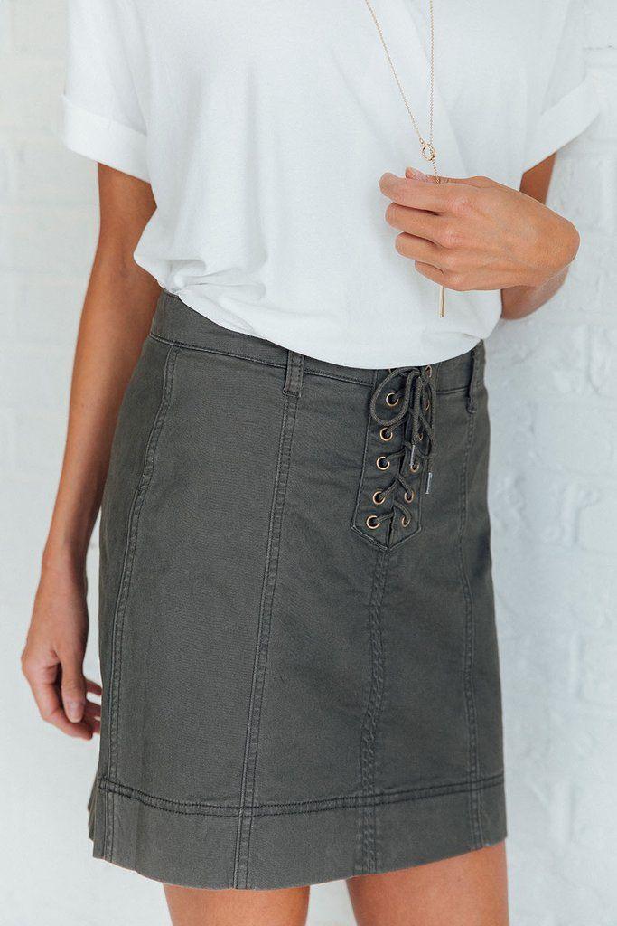 High Waist Military Skirt