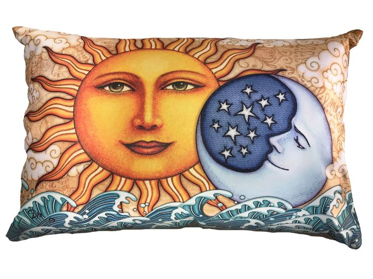 """Sun Ocean Sunrise Pillow Case Dan Morris. Beautiful full color artwork on cool satin fabric pillow case featuring the original artwork of artist, Dan Morris. Coordinates with other products available through Dan Morris Design, including accent pillows, tapestries, decals and prints. 20""""x30"""" Fits both Standard and Queen size Pillows - not included 2 Sided Design -Design on both sides. Pillow Case with hidden zipper enclosure. Exclusive copyrighted designs by Dan Morris Hand Wash Cold Water."""