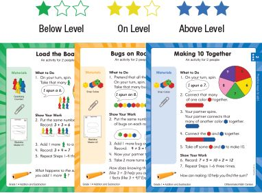Differentiated Math Centers - 3 levels of lessons plus the manipulatives you need to grab and go and get on with your math center rotations!