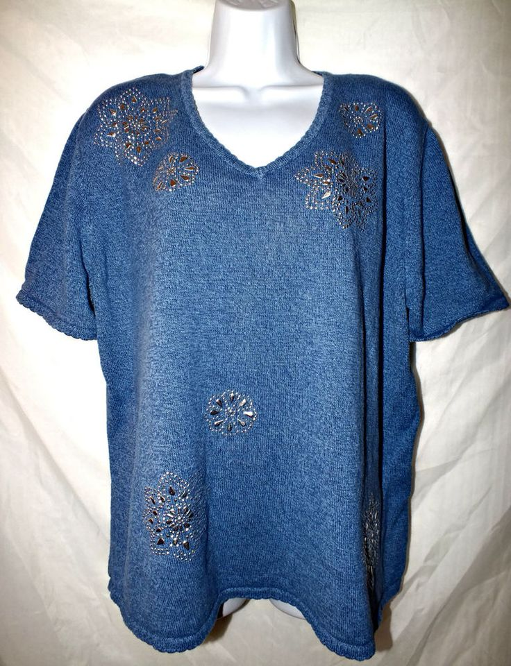 Alfred Dunner Stone Embellished Blue Women's Top Size 1X #AlfredDunner #PullOver #Casual