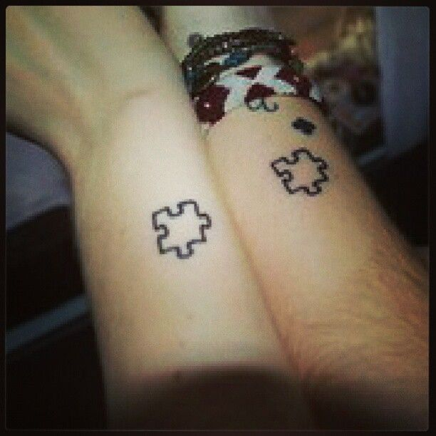 Matching Puzzle Piece Tattoos On Wrists For Best Friends