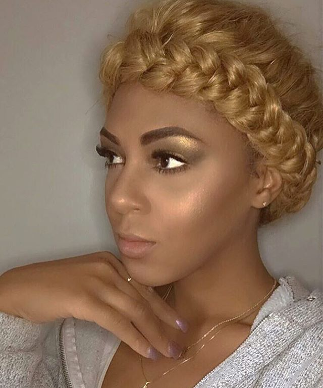 "WEBSTA @ voiceofhair - By @jasmineonya ""When you create a halo braid out of a blunt bob ✂️ wig with a bang"" Super cute 
