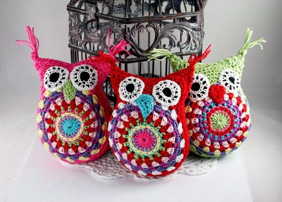 cute amigurumi multicolored owl cotton yarn in by PrettyPressings, $18.99