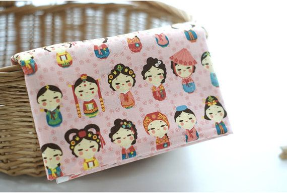 Korean Wedding Day Cotton Fabric  Pink  By the Yard by landofoh
