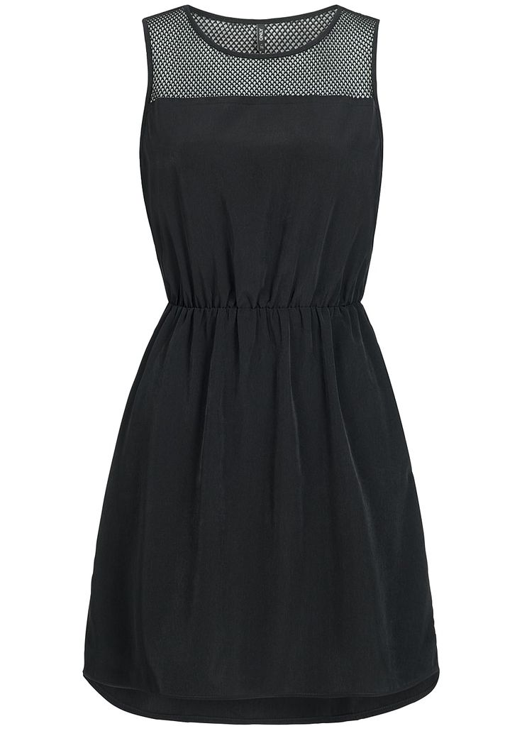 ONLY Damen Mini Kleid Taille Gummizug Netz Optik schwarz - 77onlineshop