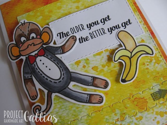 ProjectGallias: #projectgallias: Zabawna kartka z suwakiem, małpką i bananem;-) A pod suwakiem dokończenie zabawnej sentencji. Zipper card with monkey and banana. The older you get the better you get...unless you are a banana.