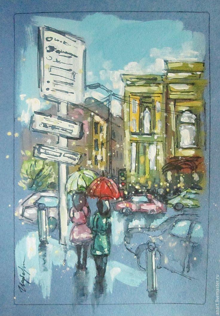 """Купить Графика """"Дождь в городе"""" формат А4 - комбинированный, зонт, дождь, город, старые здания"""
