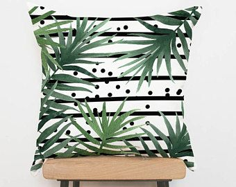 Palm pillow cover Tropical cushion cover, leaves pillowcase, cushion covers, decorative pillow, throw pillow, pillow shams, sofa pillows