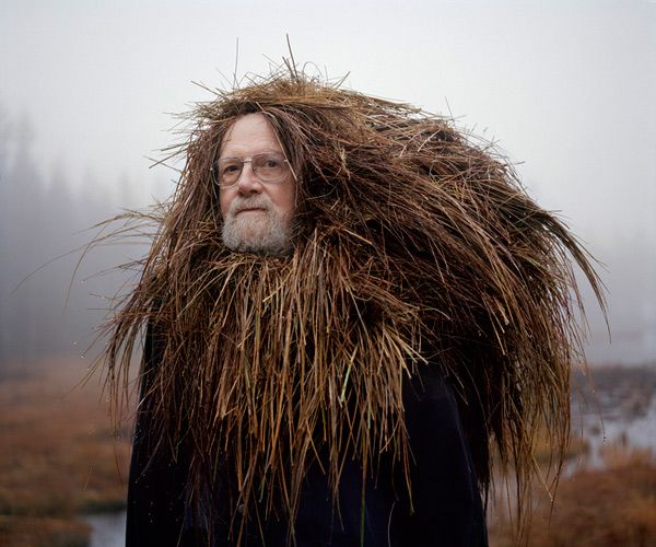 "Photographers, Karoline Hjorth and Riitta Ikonen have come up with something truly peculiar and special, in their photo series Eyes As Big As Plates. Their subjects are old, super serious and Finnish, all while wearing ridiculous ""organic"" head pieces and attire"