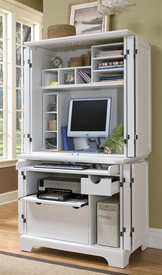 Naples Compact Computer Cabinet With Hutch In White   Home Styles