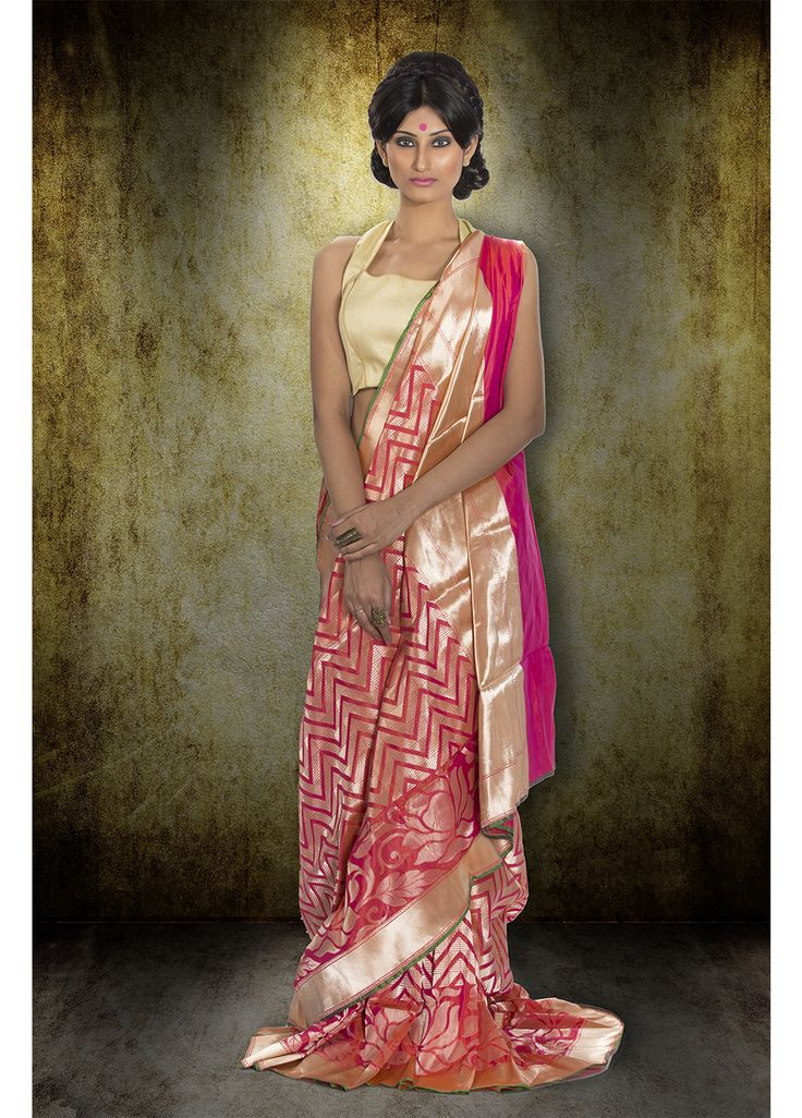 Pink opara pure silk saree-F3012
