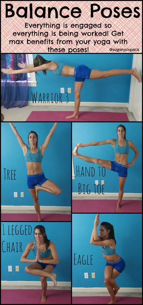 Yoga Balance Poses are great for toning your whole body because your whole body is engaged and working to keep you upright!   www.sugarysixp...