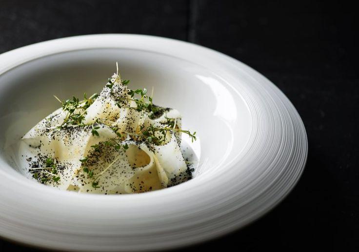 Cellery and mustard at our Michelin star restaurant Kokkeriet, Copenhagen - Denmark.