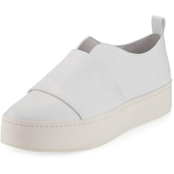 Vince Wallace Leather Platform Skate Sneaker ($139) ❤ liked on Polyvore featuring shoes, sneakers, white, white platform shoes, platform shoes, flat platform shoes, flat sneakers and white shoes