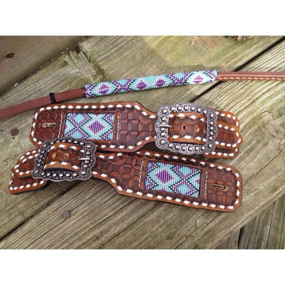 Beaded belt style spur straps by RadicalExpressionsT on Etsy