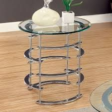 Clonmel by Furniture of America End Table CM4359CRM-E Chrome Finish