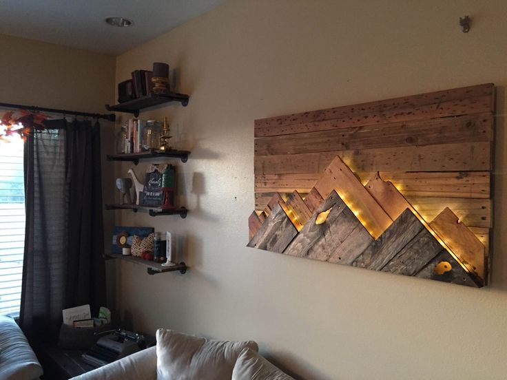 Wooden mountain range wall art love this headboard for Diy mountain mural